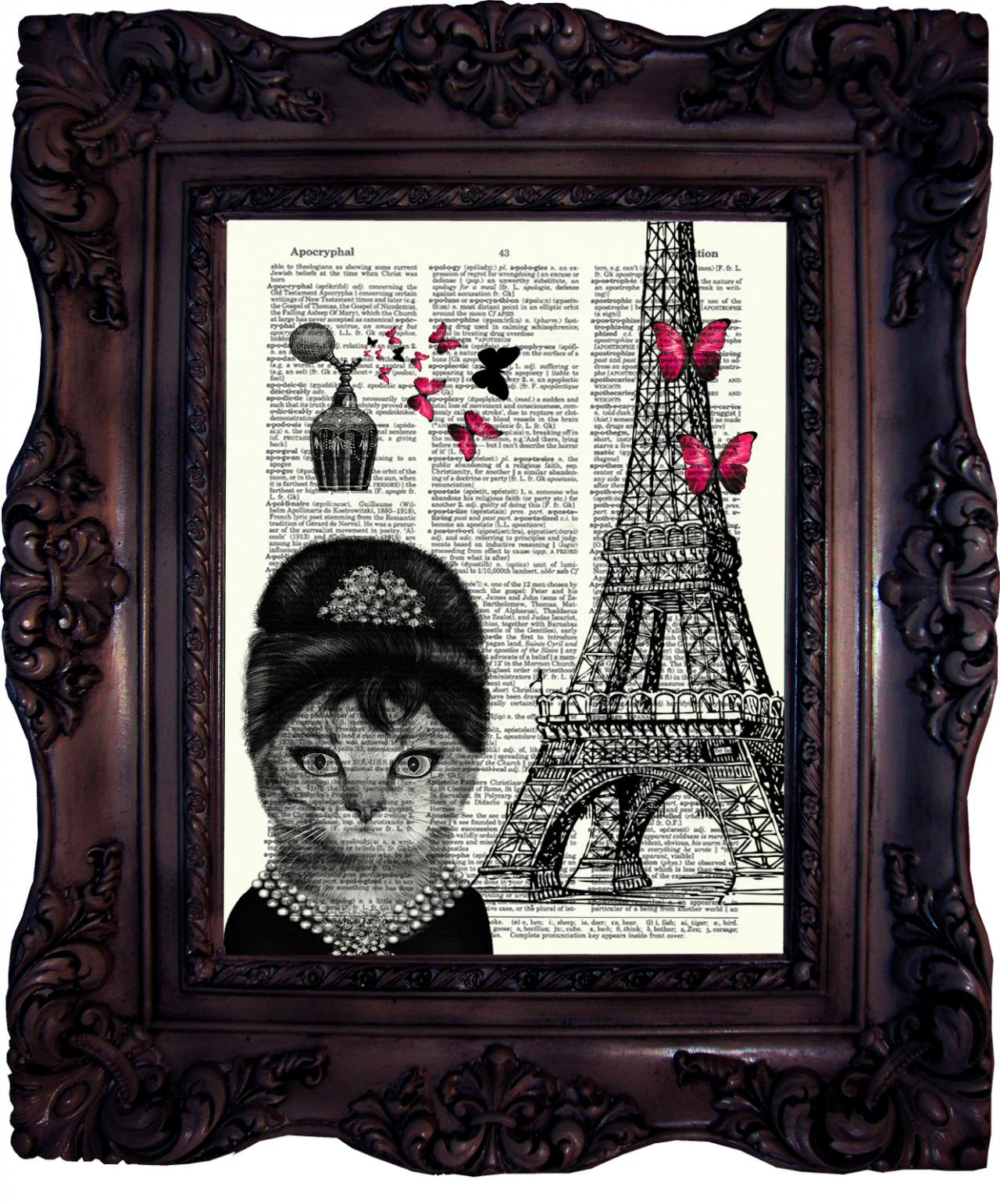 Audrey Hepburn Cat in Paris. Vintage Dictionary art print. Art Print ...